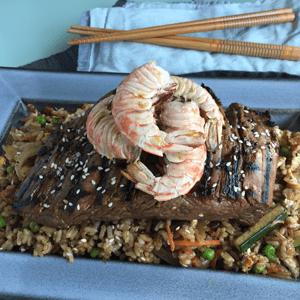 Grills Steak and Shrimp