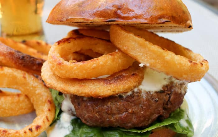 TEC Grills Burgers - Buffalo Bison Burgers with Onions Rings and Blue Cheese Dressing
