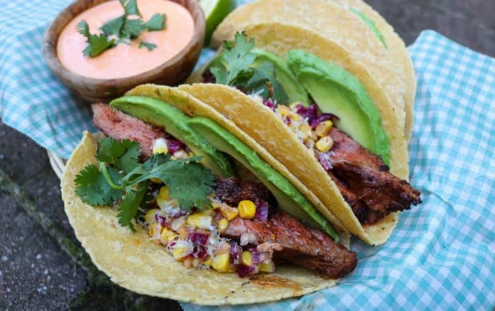 TEC Grills Summer Grilled Corn Flank Steak Tacos