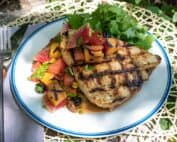 Grilled Swordfish with Peach Watermelon Salsa