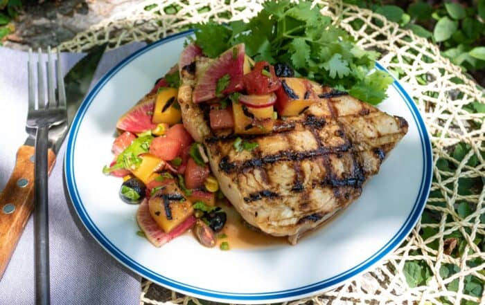 Grilled Swordfish with Peach Watermelon Salsa
